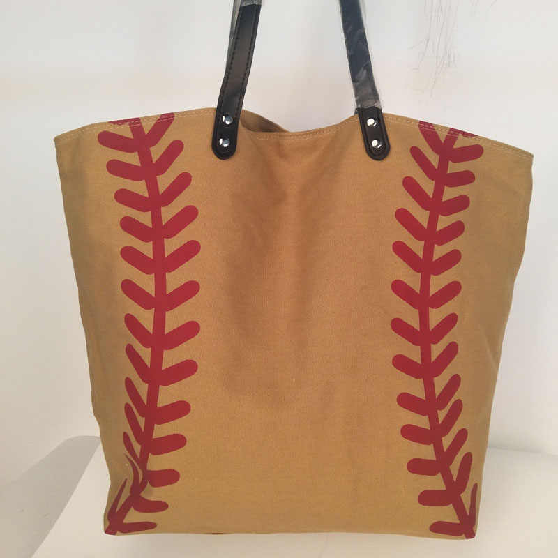 Wholesale Domil Brown Baseball Tote Bags Canvas Sporty Handbag Large  Shopping Bag DOM103281 7b64ff919a93