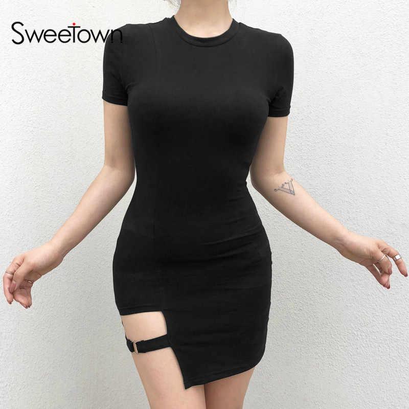 Sweethown negro cuello alto vestido Bodycon mujeres 2019 Otoño Invierno manga larga Club vestido femenino Vestidos básicos Vestidos elegantes