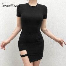Sweetown Black Round Neck Bodycon Dress Women 2018 Summer Sexy Club Dress Female Asymmetrical Party Dresses Elegant Vestidos