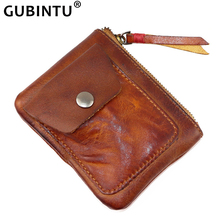 Handmade Genuine Leather Coin Purse Vintage Men Women Small Mini Zipper Wallets Card Holder Pocket Case Storage Bag Male Female цена и фото