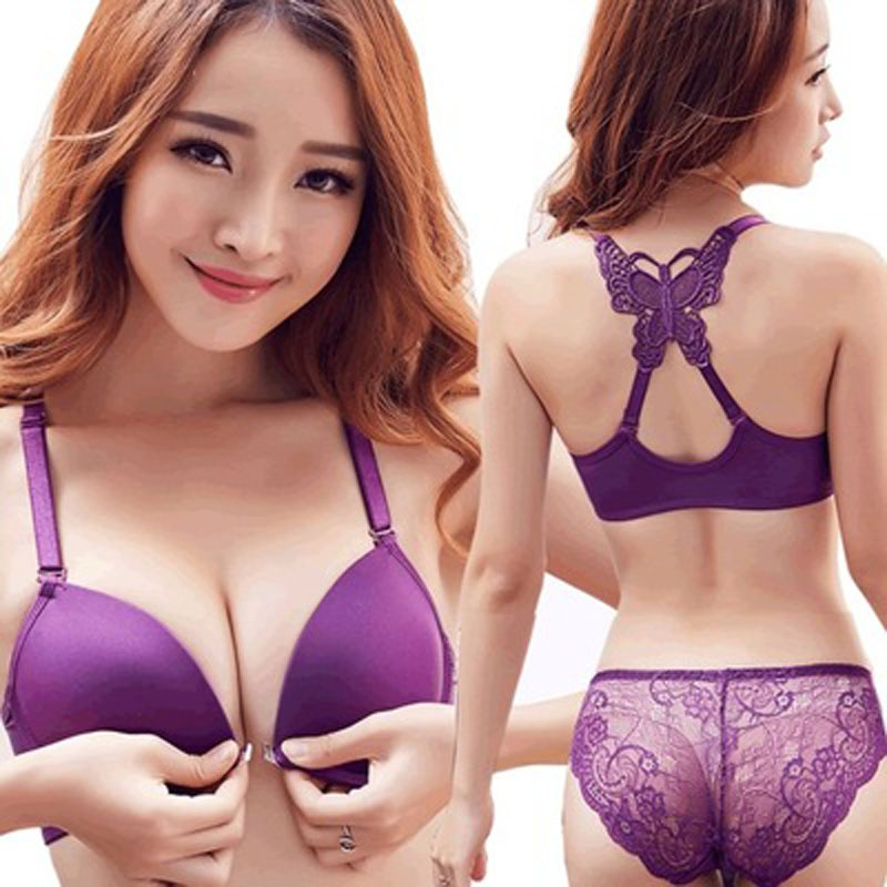 Sexy Bra Set For Women Underwear Lingerie Female Intimates Brand Bra Brief Set Push Up Front Closure Bralette Panties AB Cup