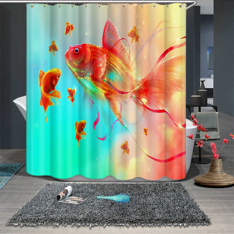 3d Blue and White Porcelain Goldfish Pattern Shower Curtains Bathroom Curtain Thicken Waterproof Thickened Bath Curtain