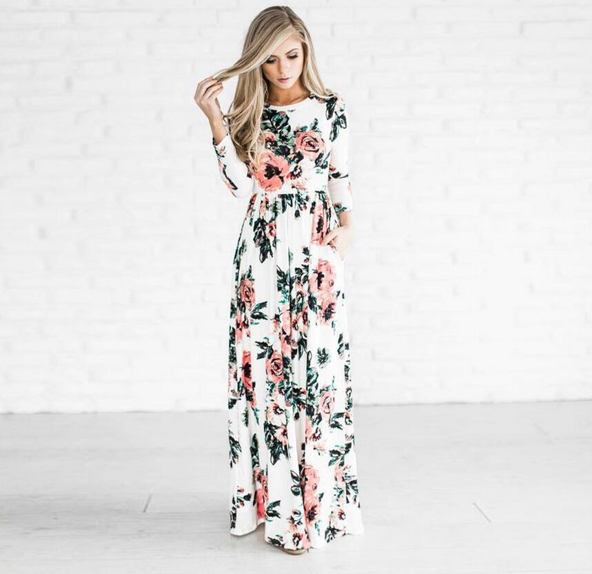 Summer dress 2017 женщины печатные длинные boho пляж о-образным вырезом three четверти рукав империя цветок длиной до пола, maxi dress