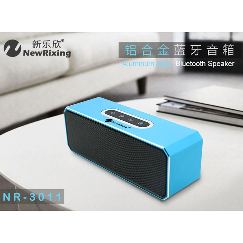 NewRixing High-end Aluminum Alloy Bluetooth Speaker TF USB FM Radio Speaker Bass Sound Subwoofer Stereo Hifi Button With Light hantoper hifi wireless speaker dual bass bluetooth speaker portable subwoofer with led display speaker support tf fm radio usb