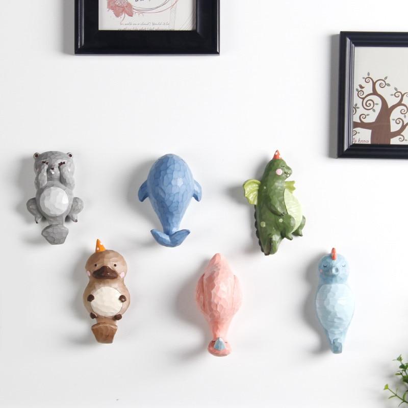 Lovely Cartoon Door Hat/Clothing Hanger Hook Animals Children Household Adornment Resin Wall Hook Coat Hooks Best Gifts For Kids