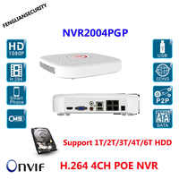 Full HD 1080P CCTV POE NVR 4CH NVR For IP Camera ONVIF H 264 NVR Support