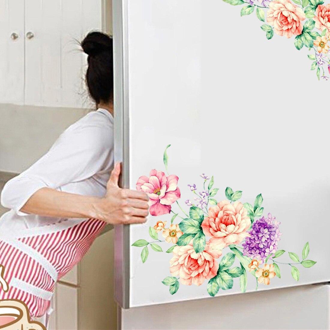 Новые цветы пиона стены наклейки Home Decor ПВХ съемные виниловые наклейки на стены для детей Гостиная Туалет холодильник украшения