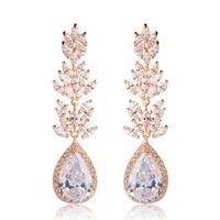 Blucome Water Drop Leaf CZ Zircon Long Drop Earrings For Women Gold Silver Color Copper Wedding