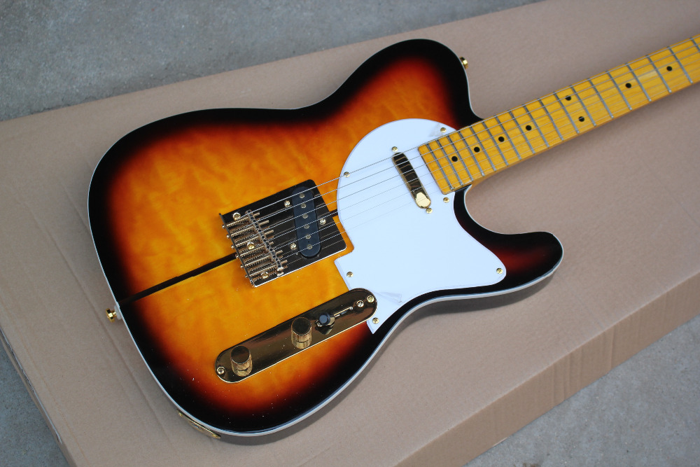 Free Shipping TL Sunburst Custom Shop TUFF DOG TEL Signature Electric <font><b>Guitar</b></font> Golden Hardware image