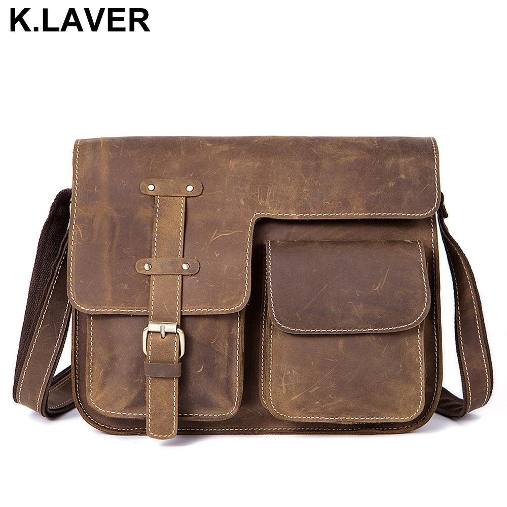 Crazy Horse Genuine Leather Men Bag Crossbody Bags Zipper Vintage Messenger Bag Mens Leather Brand Handbag Shoulder Bags Male