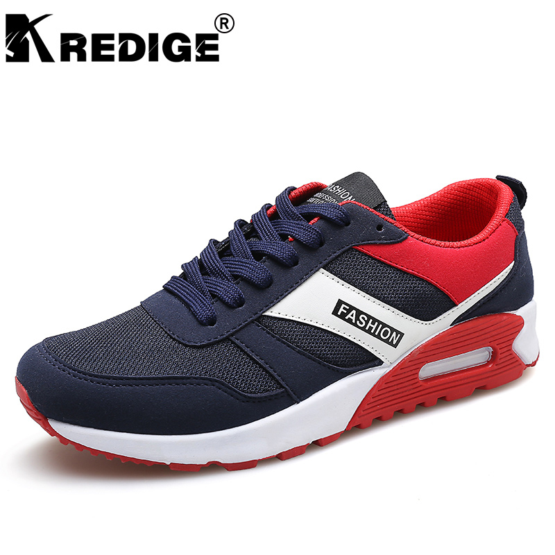 KREDIGE Air Mesh Breathable Casual Shoes Mens New Hard-Wearing Lace-Up Shoes Anti-Odor Non-Slip Soles Male Shoes Big Size 39-44 kredige anti odor zip tide leather shoes hard wearing mens casual shoes pu breathable waterproof plate shoes british style 39 44