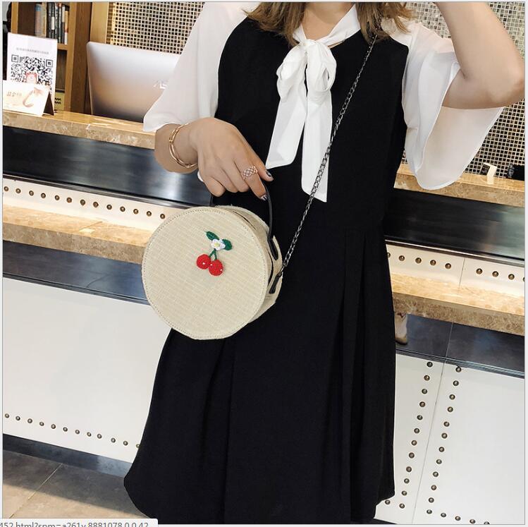 Sacs à bandoulière pour femmes 2018 sacs ronds faits à la main Style bohème plage paille unique épaule chaîne sangle sacs à main sac Messenger. - 4