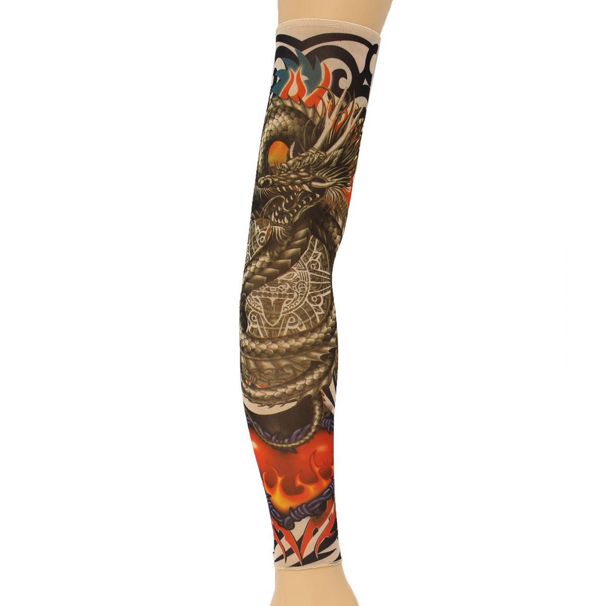 OUTERDO 1Pc Dragon Tattoo Sleeves Nylon Spandex Stretchy Temporary Arm Stockings Mix Colors Soft For Men Women Cyclists
