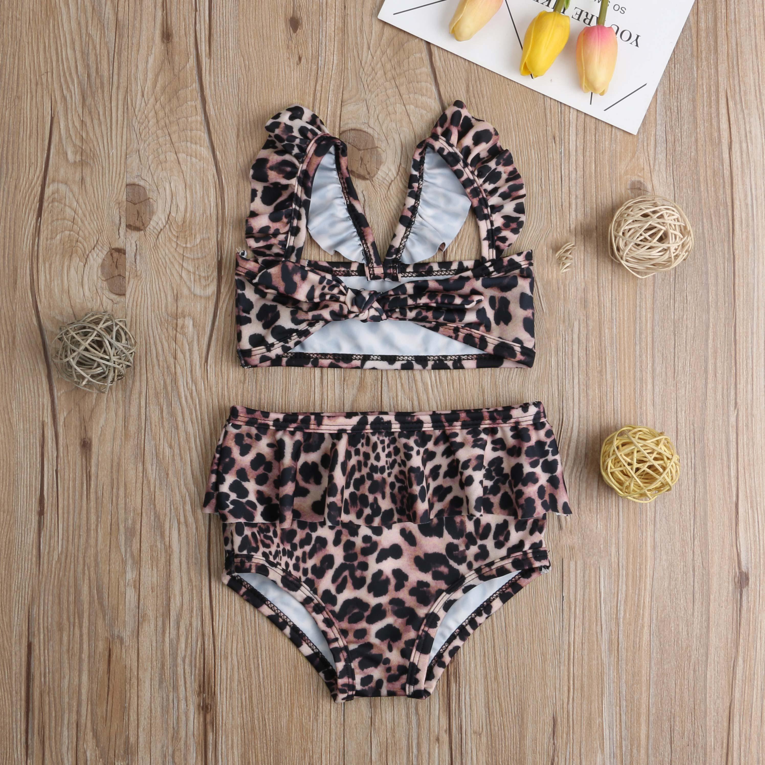 Лидер продаж, комплект из 2 предметов для маленьких девочек, Леопардовый цветочный принт, купальный костюм, бандаж, оборки, детский пляжный л... 17