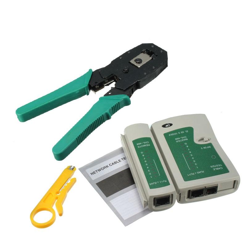 цена на RJ45 RJ11 RJ12 CAT5 CAT5e Portable LAN Network Tool Kit Utp Cable Tester AND Plier Crimp Crimper Plug Clamp PC XXM8