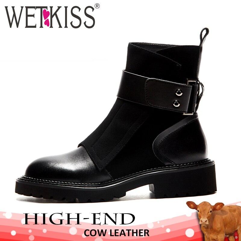 WETKISS/женские ботильоны из натуральной кожи, обувь из флока с квадратным носком, женские мотоциклетные ботинки, Армейская Обувь на платформе,...