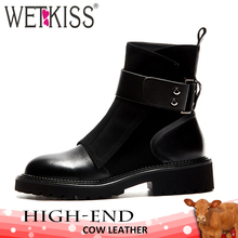 WETKISS Genuine Leather Women Ankle Boots Square Toe Flock Footwear Motorcycle Female Boot Platform Army Shoes Woman Spring 2019