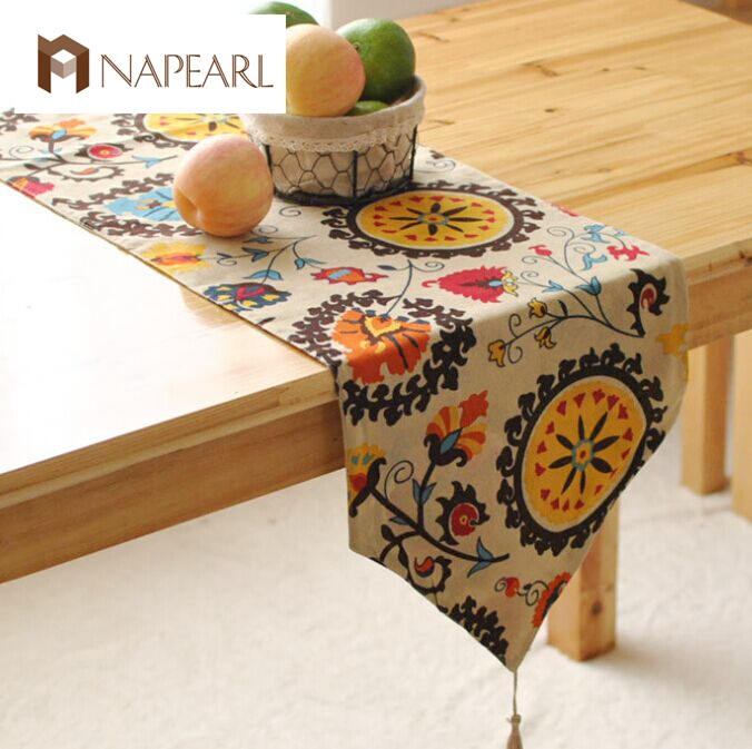 Foreign Table Flags Modern European-style Garden Coffee Table Stylish Simplicity  Flag Tassels Bohemian Bed Table Runner