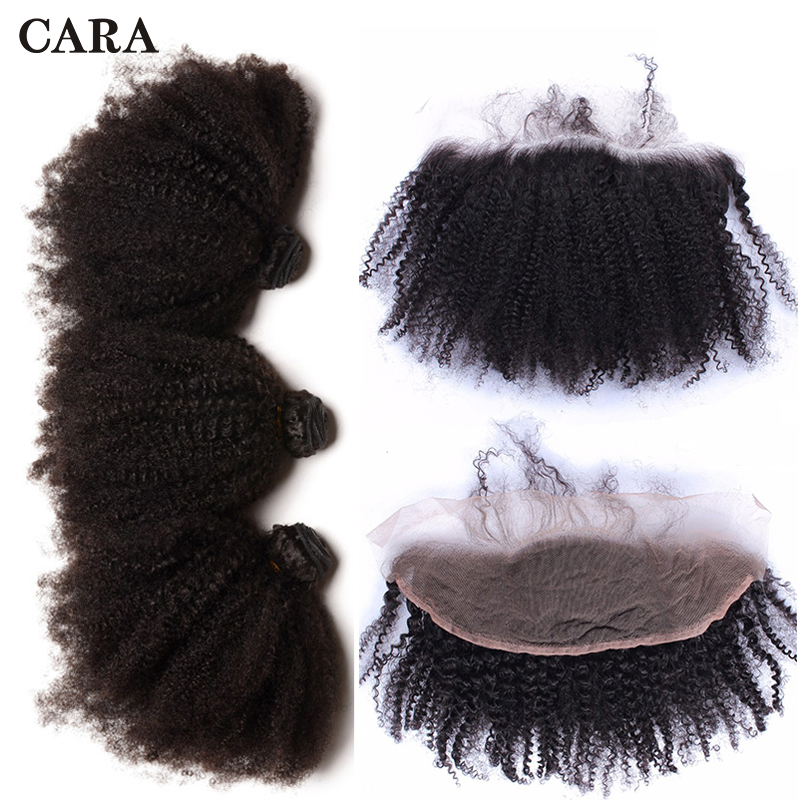 Brazilian Virgin Human Hair Bundles With Closure Afro Kinky Curly Hair 3 Bundles With Frontal Closure 13X4 Lace Frontal CARA