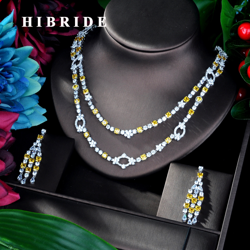 HIBRIDE Luxury Double White gold Color Yellow Cubic Zircon Women Jewelry Set For Bridal Party Accessories