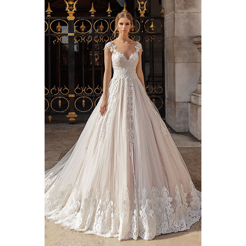 Eightree Free Bridal Veil Wedding Dresses Appliques Luxury Cap Sleeve V neck Bride Gowns Chapel Train Illusion Backless 2019 in Wedding Dresses from Weddings Events