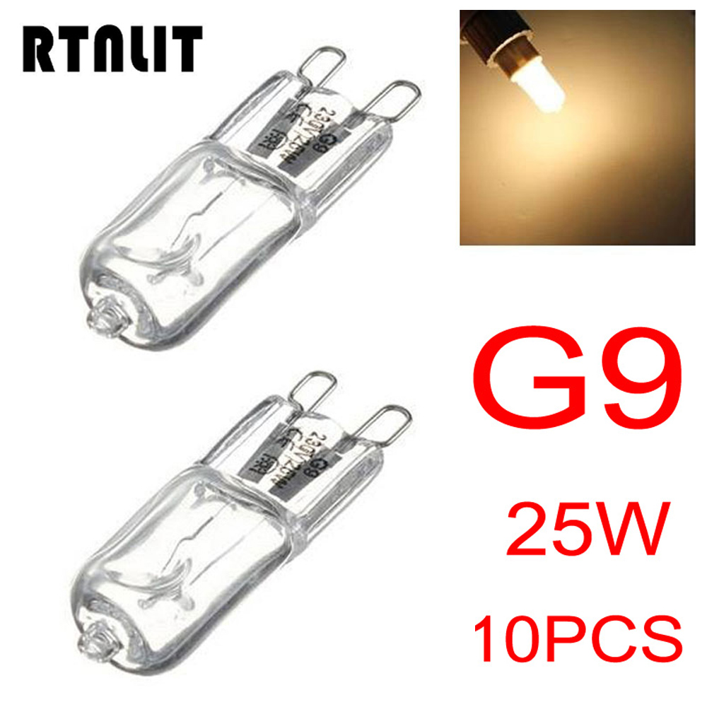 10pcs/lot G9 25W Warm White Halogen Light Bulb 3000-3500K Globe 230V-240V Capsule Clear Bulbs Lamp 360 Degree Home Lighting