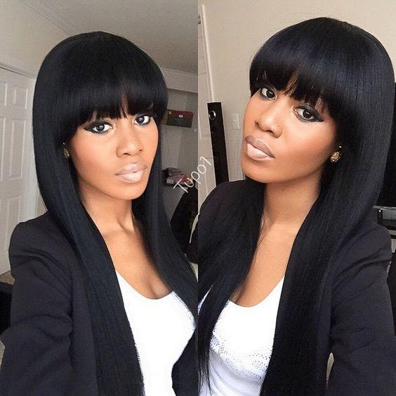 Girl S Indian Human Hair Natural Black Long Bob Cut Wigs