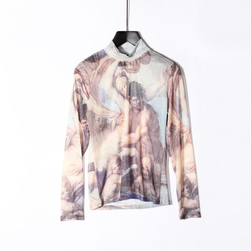 Women Tshirt Sexy Tee Tops Print T-shirt Semi Elastic Net Perspective Painting Long Sleeved Bottoming Women T shirts