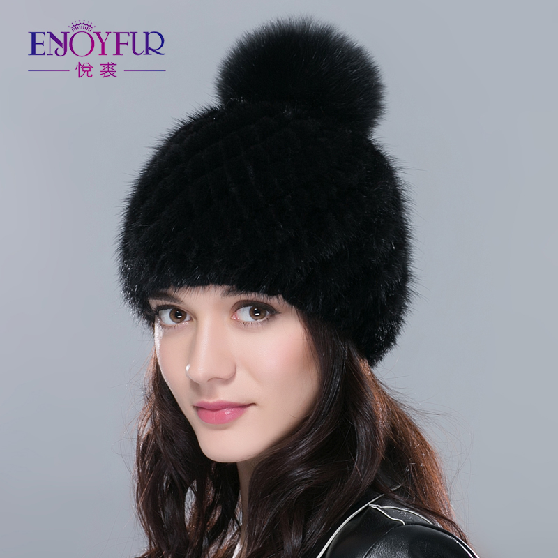 Hot sale real mink fur hat for women winter knitted mink fur   beanies   cap with fox fur pom poms 2018 brand new thick female cap