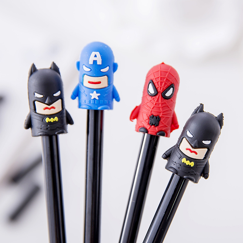 0 38mm kawaii Super Man Hero Spiderman Gel Pen Signature Pen Escolar Papelaria School Office stationery Supply Promotional Gift in Gel Pens from Office School Supplies