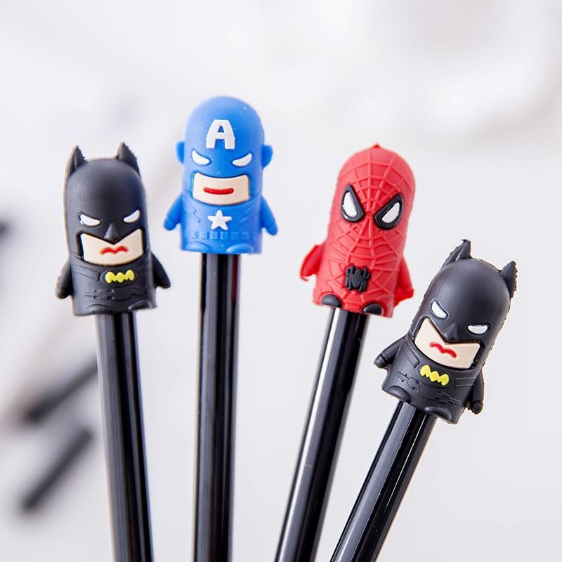 0 38mm kawaii Super Man Hero Spiderman Gel Pen Signature Pen Escolar Papelaria School Office stationery Supply Promotional Gift in Gel Pens from Office School Supplies