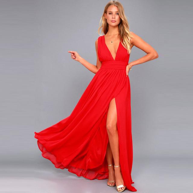 Fashion Vestidos Summer Women Sexy V Neck Sleeveless Beach Dresses Ladies Casual Loose Long Maxi Party Dress Plus Size