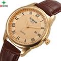 Hombres Del Reloj de moda 2016 Relojes Para Hombre de Primeras Marcas de Lujo Reloj de Oro A Prueba de agua Reloj de Pulsera de Cuero Hombres de Negocios Hombres Reloj WACH XFCS