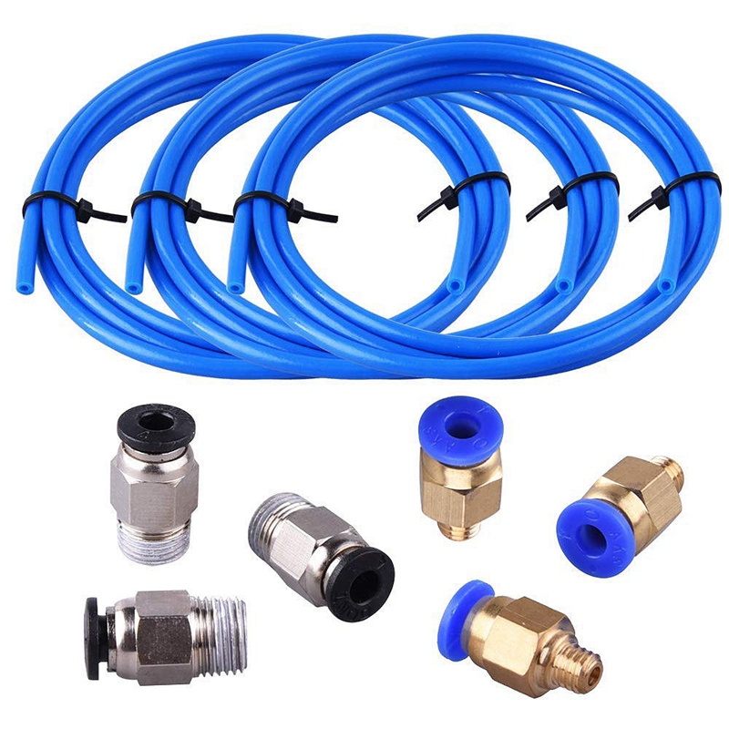Teflon Tube Ptfe Blue Tubing(1.5 Meters) With 3 Pieces Pc4-M6 Fittings And 3 Pieces Pc4-M10 Male Straight Pneumatic Pefe Tube(China)