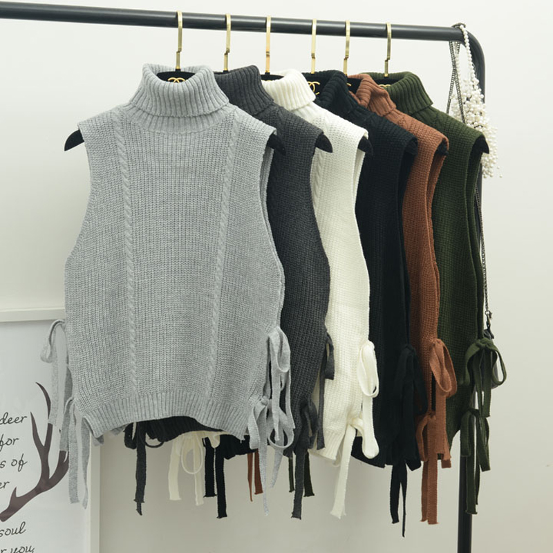 women Autumn and winter the new Korean style thick turtleneck bandage loose sleeveless women sweater vest