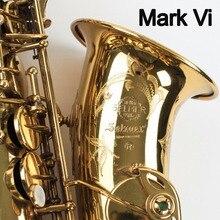 Французский Саксофон альт Mark VI золотой лак профессиональный саксофон Alto музыкальных инструментов профессионального Reeds шеи мундштук