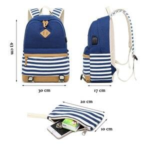 Image 4 - Conjunto de 2 mochilas escolares con USB para adolescentes y niñas, morral escolar con USB para ordenador portátil, morral de viaje para mujer, bolsa para teléfono, mochila femenina con estampado a rayas