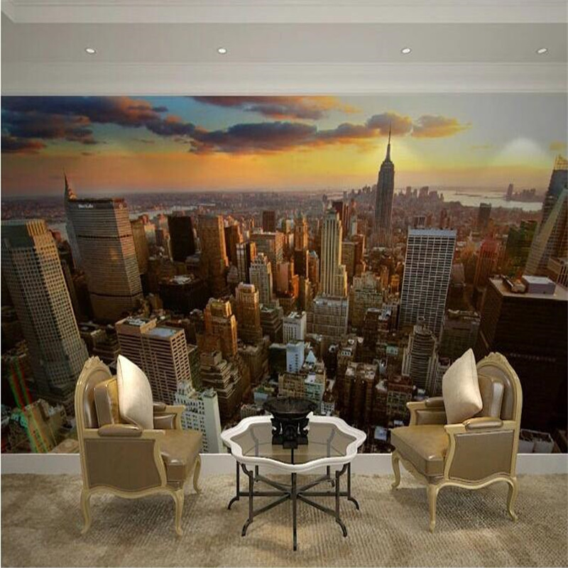 Custom 3d mural wallpaper city evening landscape for Cost of a mural