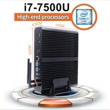 Fanless Mini PC Mini Desktop Computer,i7 7th Gen. i7 7500U CPU with 16GB RAM+256GB SSD,4096*2304,HDMI,DP,4USB3.0,Metal Case,Wifi