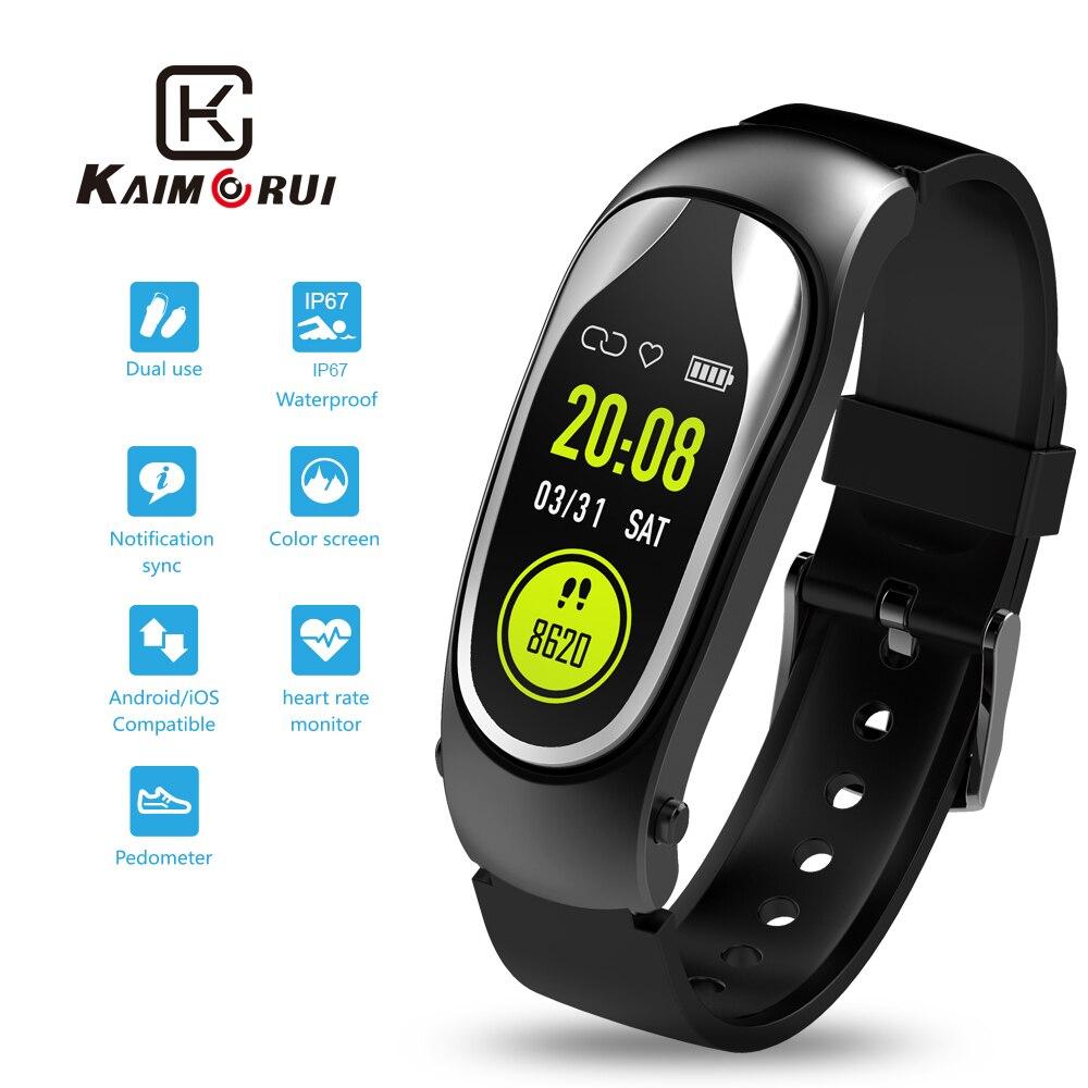 Bracelet de Fitness bande intelligente Bluetooth casque réponse appel marche Bracelet intelligent avec écouteurs pour Xiaomi Huawei téléphone intelligent