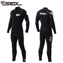 Slinx 3mm Men Women Flocking Scuba Diving Wetsuit Neoprene Winter Fleece Lining Snorkeling Diving Spearfishing Jackets & Pants(China)