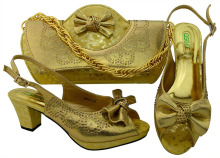 цены 2018 Gold Color Shoes and Bag To Match Italian Women Shoe and Bag To Match for Parties Afcan Shoes and Bags Matching Set
