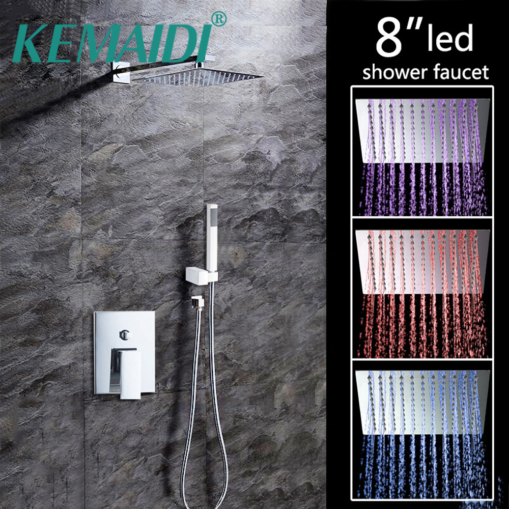 KEMAIDI 8LED & 8Without LED Luxury Bathrome Bathtub Rainfall Shower head Chrome Polished Wall Mounted Swivel Mixer Shower Sets 8 led bathrome bathtub rainfall shower head polished wall mounted swivel mixer taps shower faucets set chrome finish