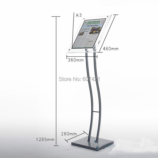floorstanding curved pole pedestal sign poster display frames with acrylic sign frames