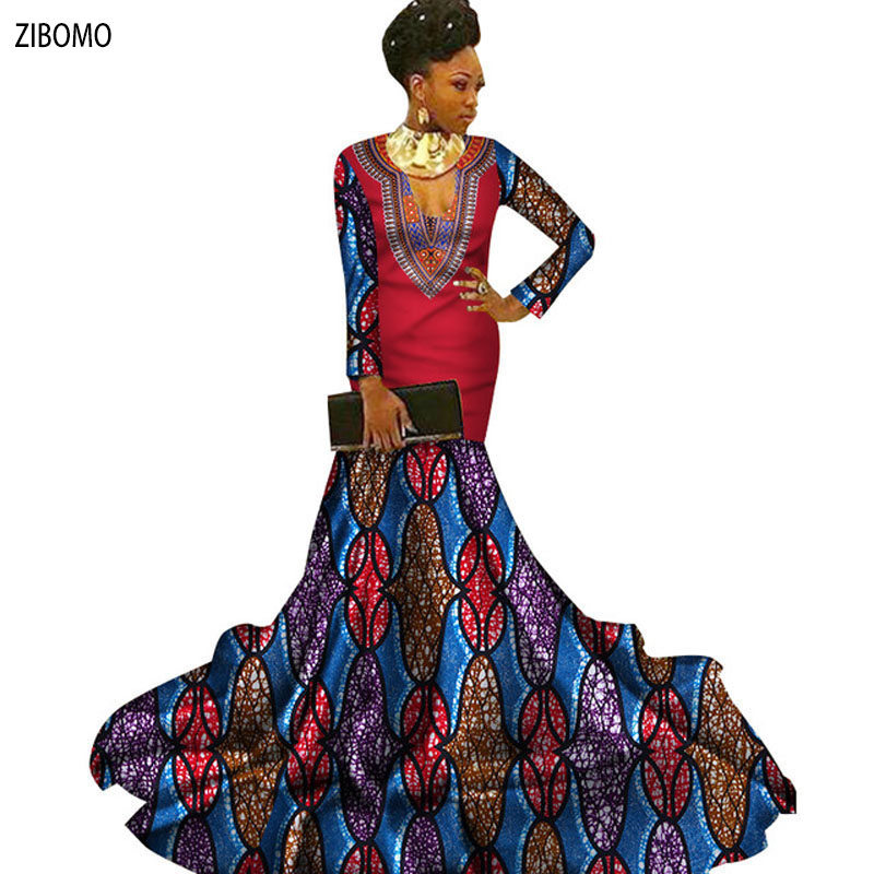 8d2596e787534 African clothing dress for women Nigerian banquet formal maxi plus big size  dashiki ankara wax fabric long dress
