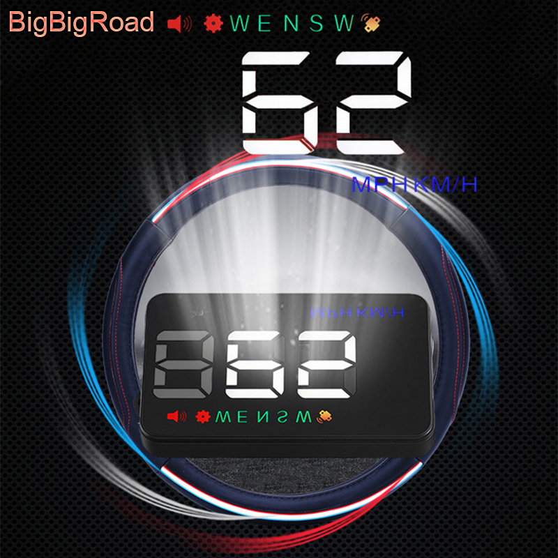 BigBigRoad 3.5 inch Car Auto Hud Head Up Display Digital GPS Speedometer Windscreen Projector Overspeed Alert Fuel Warning цена 2017