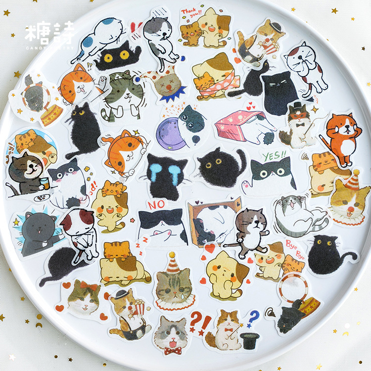 40pcs Cute Clever Magic Meow Cat Animal Stickers Decorative Stationery Craft Stickers Scrapbooking DIY Stick Label