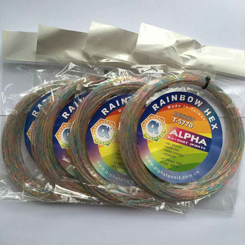 1 pc ALPHA high elastic multifilament Flash tennis strings Rainbow colorful tennis racket string 12M/PC  1.29mm 16G