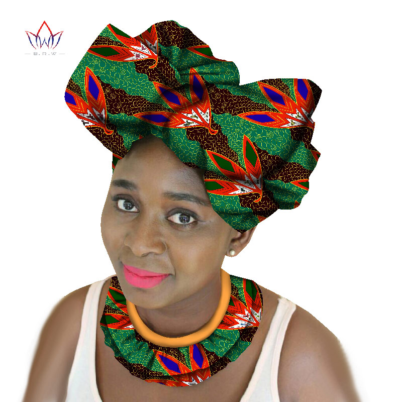 цена на BRW African Tribal Jewelry Handmade Double Layer Choker Necklace & Headtie for Women African Wax Print Fabric Ankara Necklace