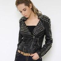 Для женщин Рок в стиле панк с заклепками Босоножки из искусственной pu кожи с поясом тонкая короткая молния Разделение кожаные пальто Топы к